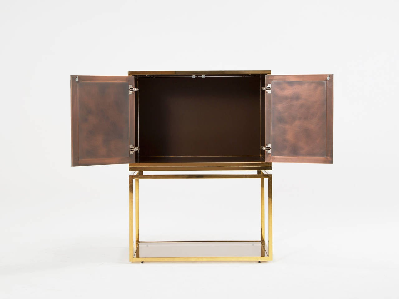 Brass And Tinted Glass Dry Bar For Sale At 1stdibs