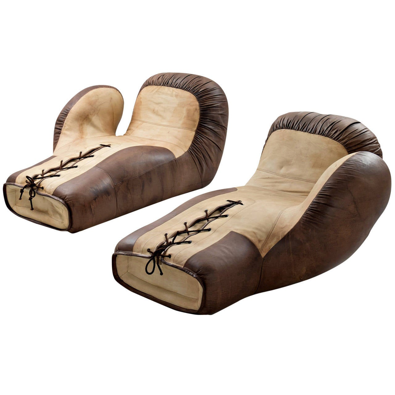 Rare set of two de sede boxing glove chaise longues in for Brown leather chaise longue