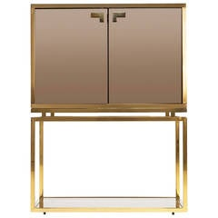 Brass and Tinted Glass Dry Bar