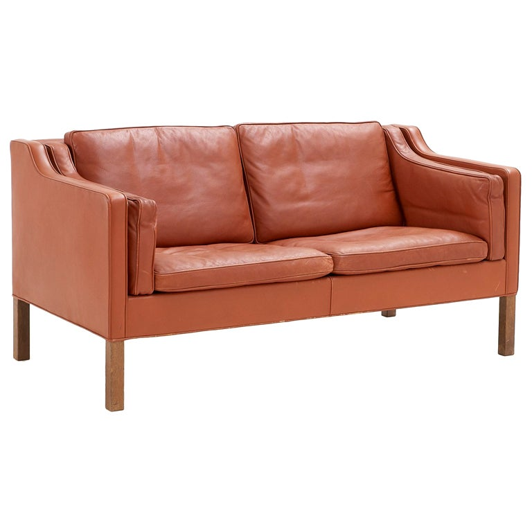 Borge Mogensen 2 Seater Sofa In Cognac Leather For