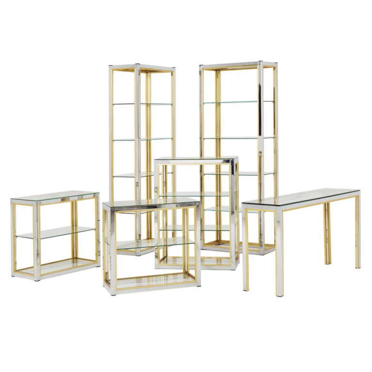 Rare and large collection of brass and chrome etag res at 1stdibs - Etagere cases carrees ...