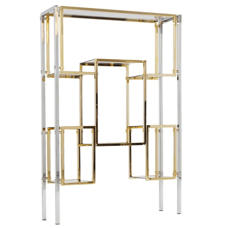 Brass and chrome roomdivider etagere at 1stdibs - Etagere cases carrees ...