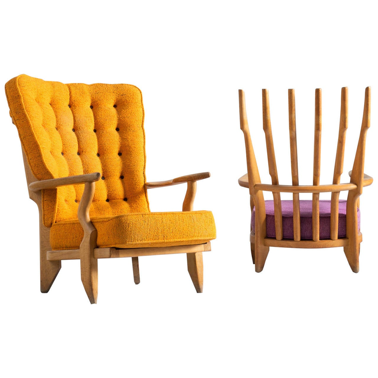 Two High Back Lounge Chairs by Guillerme and Chambron in Solid Oak For Sale