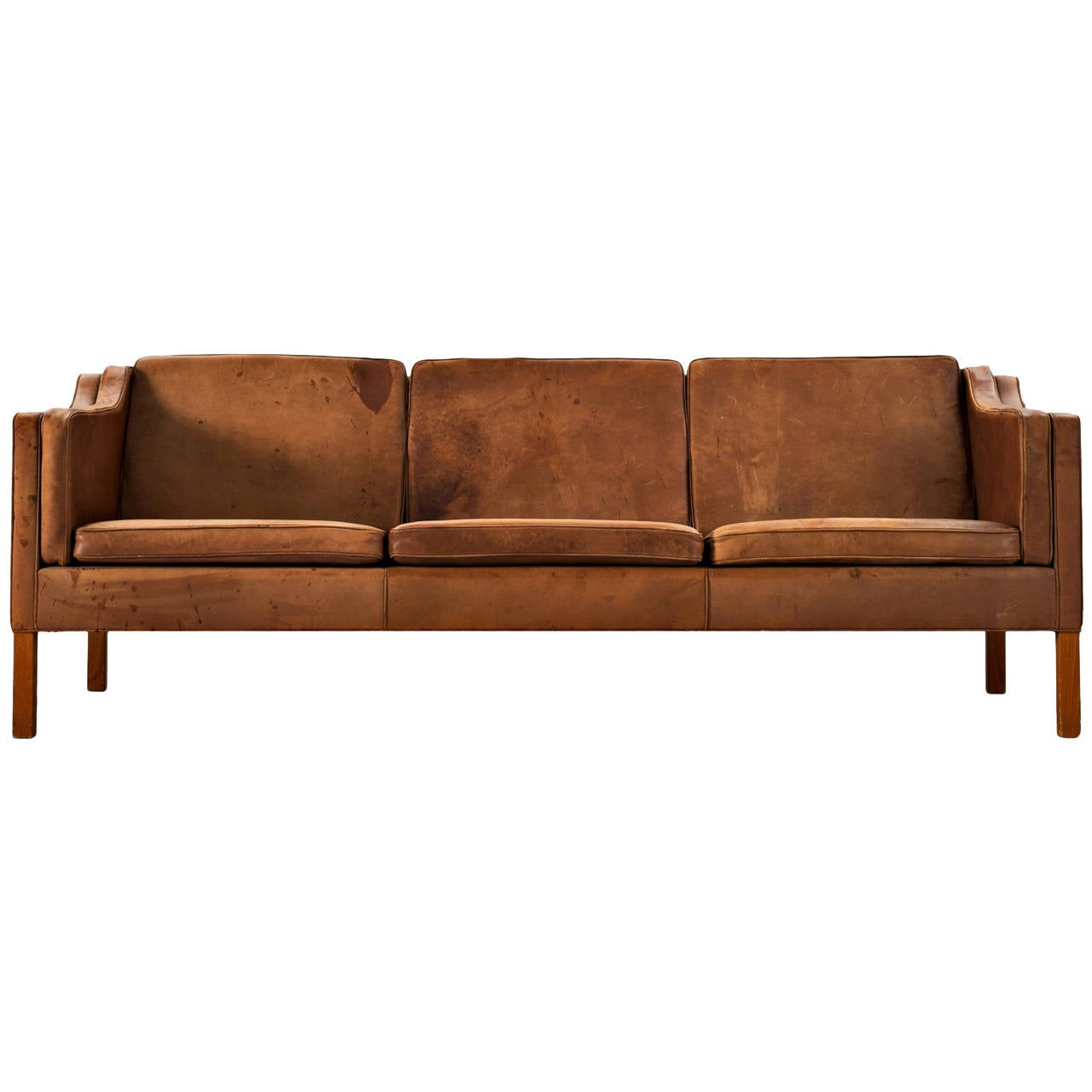 b rge mogensen three seat sofa in cognac leather at 1stdibs. Black Bedroom Furniture Sets. Home Design Ideas