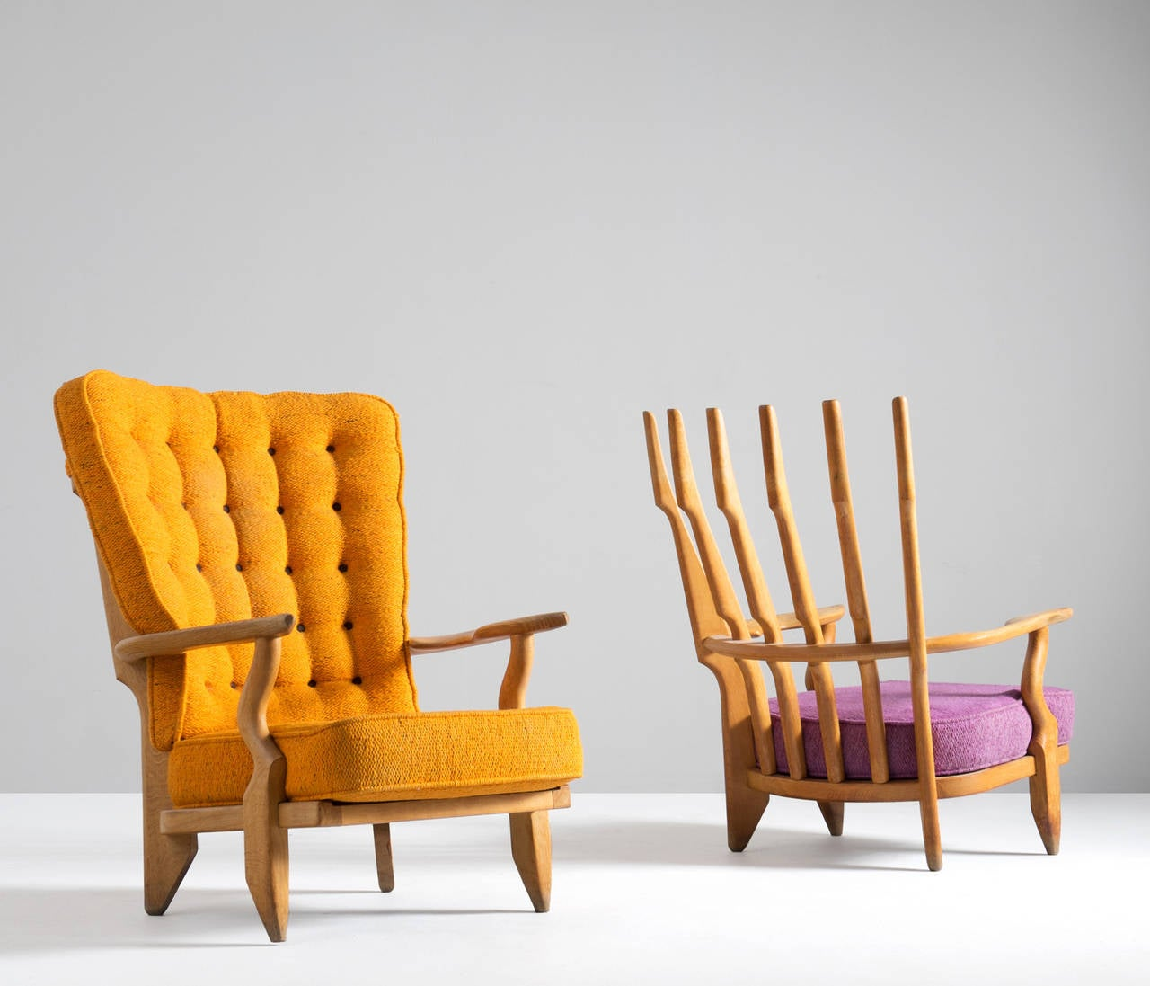Mid-Century Modern Two High Back Lounge Chairs by Guillerme and Chambron in Solid Oak For Sale