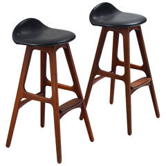 Erik Buck Set of Bar Stools in Rosewood and Leather