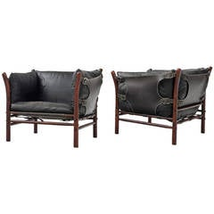 Arne Norell Pair of 'Ilona' Club Chairs in Black Leather