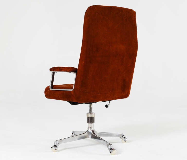 Osvaldo Borsani Desk Chair In Red Brown Suede Leather For