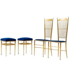 Chiavari Dining Chairs with Stools in Brass