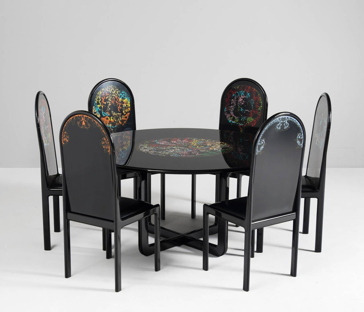 Dining Room Set With Bench Seating Painted Tongue And: Bjorn Wiinblad Hand-Painted Lacquered Dining Set