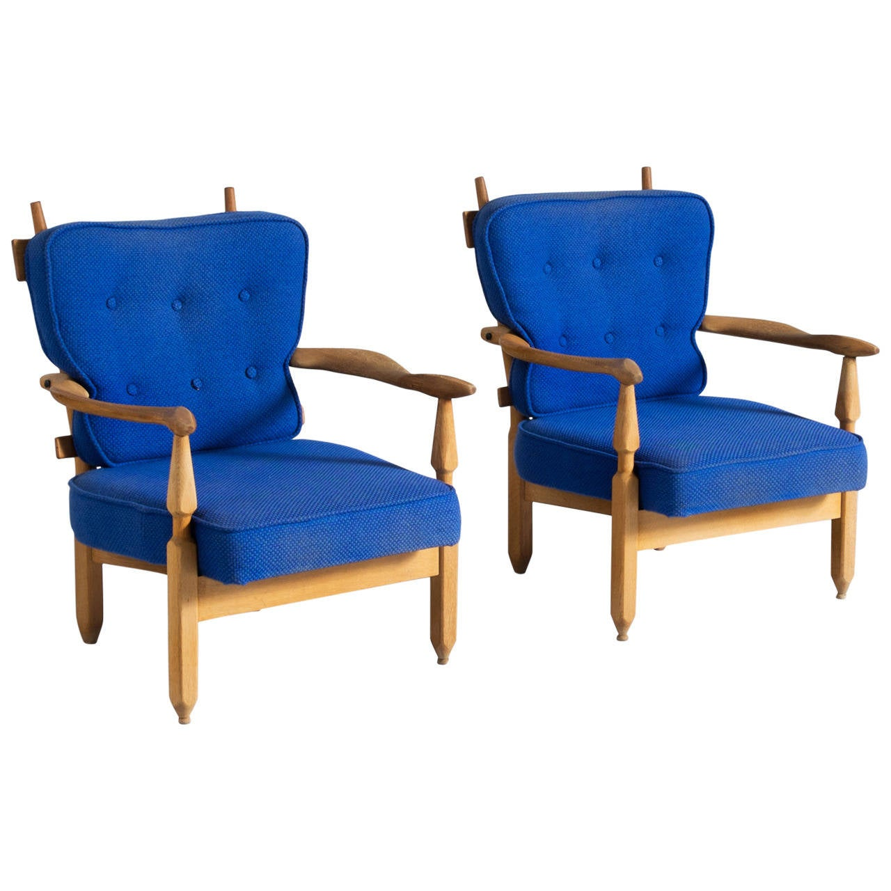 Guillerme and Chambron Lounge Chairs in Oak