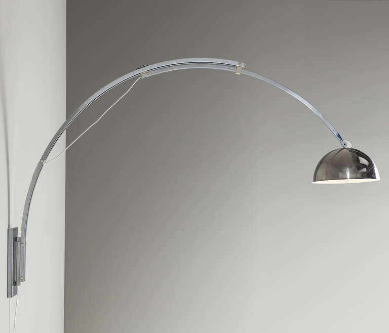 Pair Of Extreme Large Fully Adjustable bow Wall Lights, In Chrome For Sale at 1stdibs