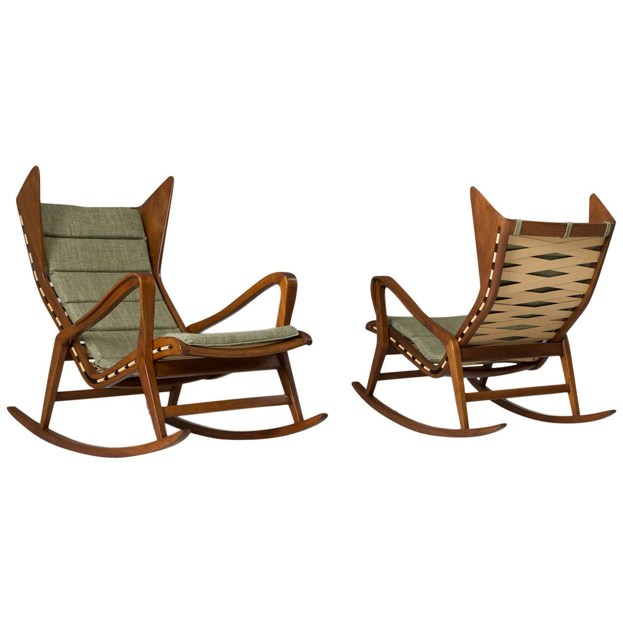 Set of Two Italian Rocking Chairs for Cassina For Sale at