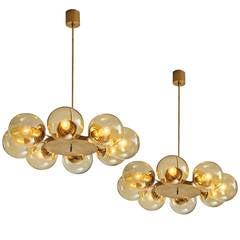 Nine Chandeliers in Solid Brass