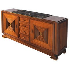 Art Deco Credenza in Mahogany and Walnut with Marble Top