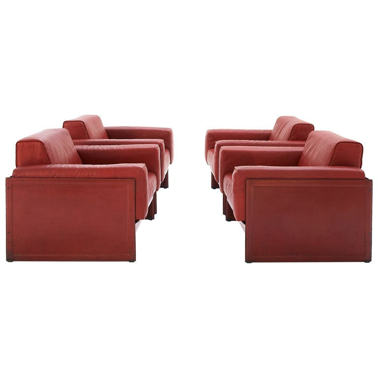 Set Of Several Club Chairs By Matteo Grassi In Dark Red