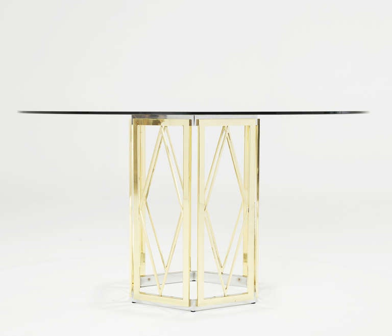 Sculptural italian brass and chrome pedestal table with for 13 inch round glass table top