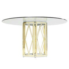 Sculptural Italian Brass And Chrome Pedestal Table With Round Glass Top