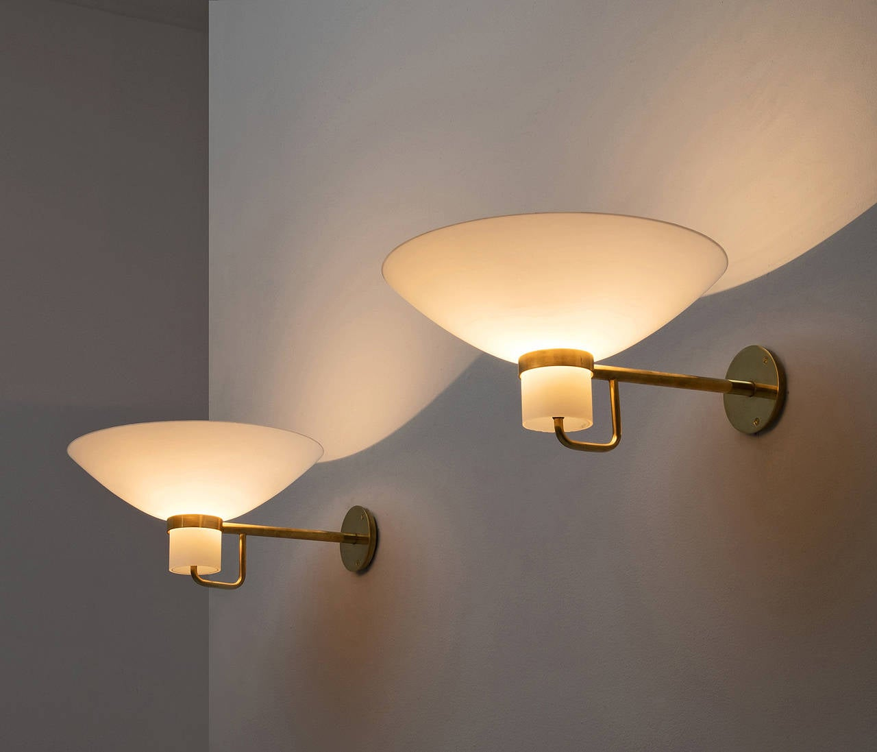 Large Glass Wall Lights : 1 Large wall light by Lyfa, solid brass and opal glass For Sale at 1stdibs