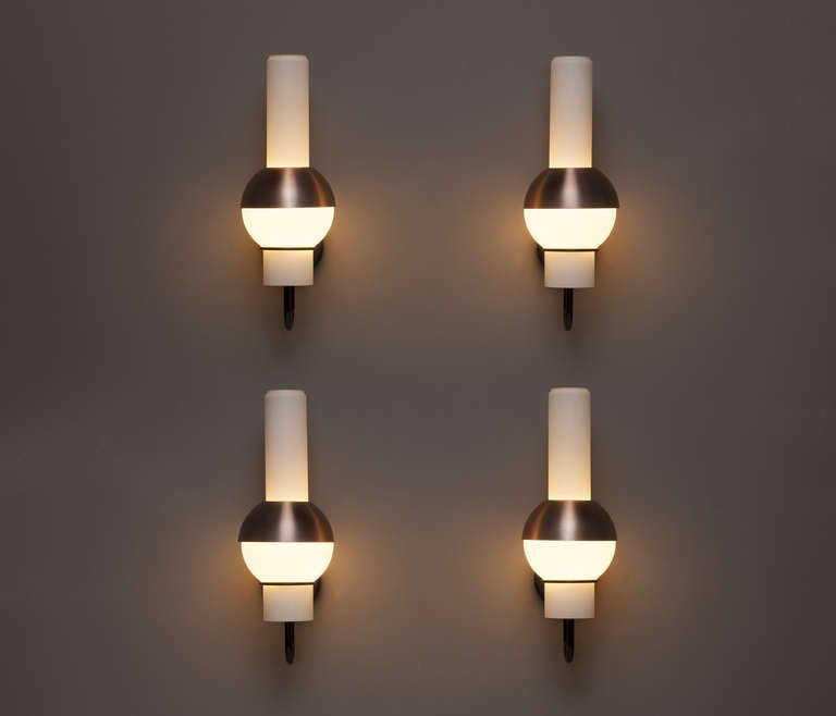 Glass Tube Wall Lights : Set Of 8 Wall Lights With Copper Shade And Opaline Glass Tubes at 1stdibs