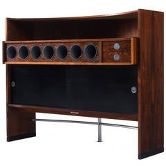 Luxury Danish Dry Bar In Rosewood - Chrome And Laminated Details