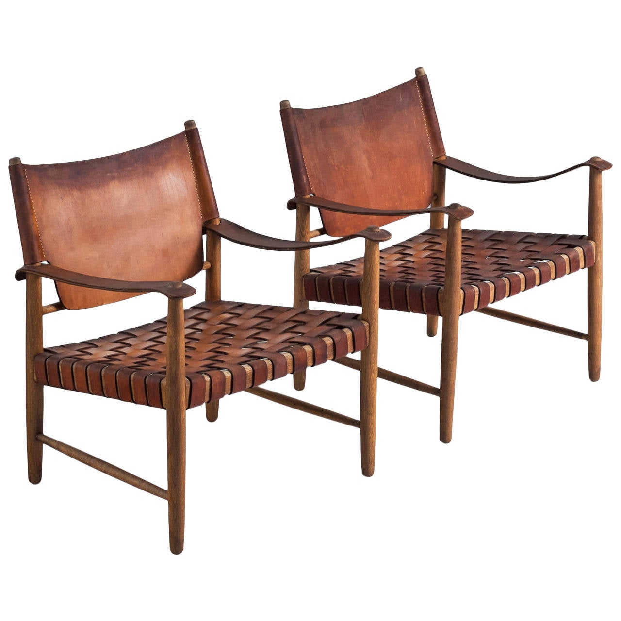 Safari Chairs in Cognac Leather at 1stdibs