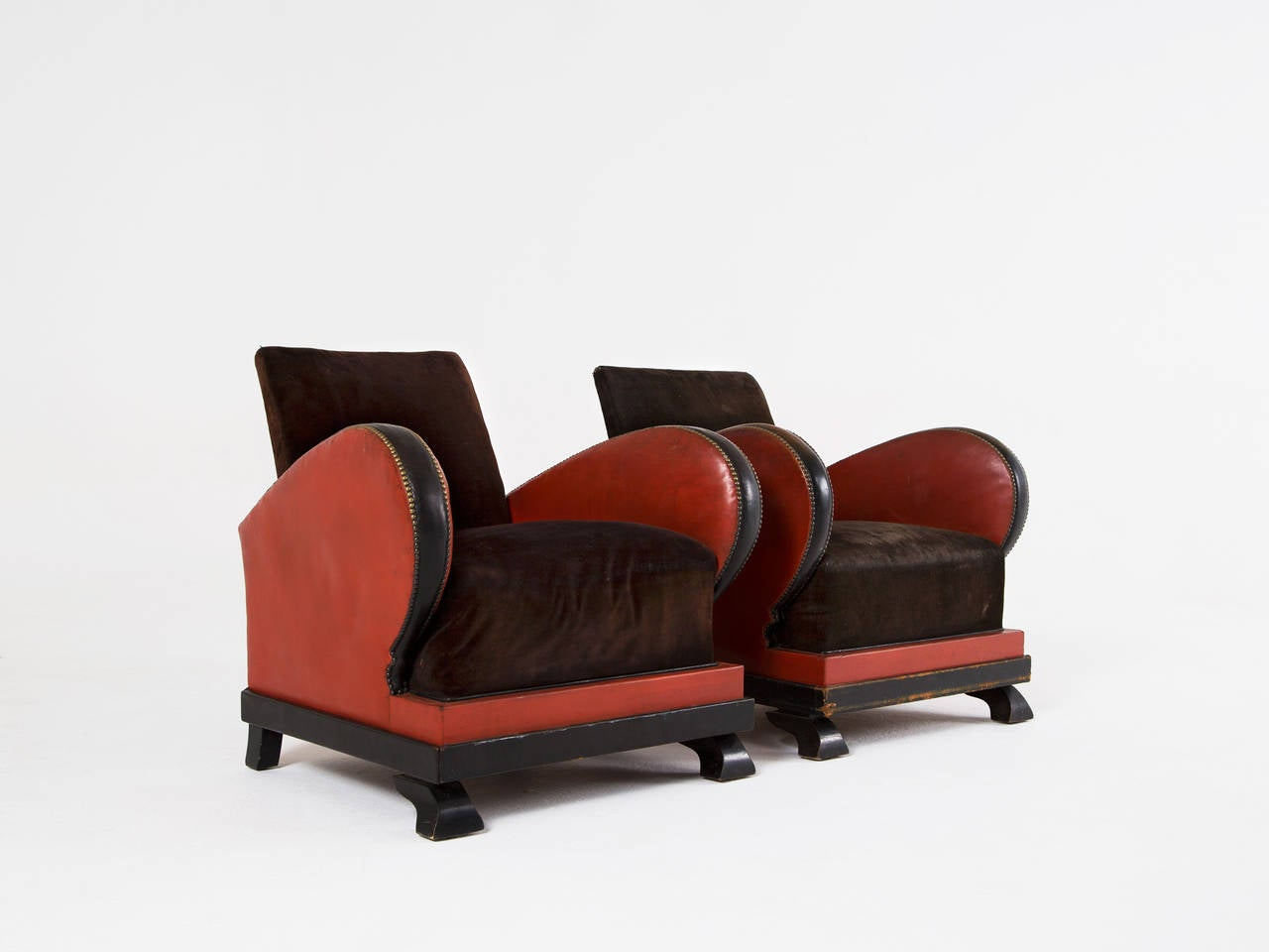 Set of 2 Red and Black Art Deco Club Chairs For Sale at ...