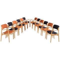 Large Set of 12 Dining Chairs by Erik Buck, 1950s