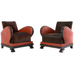 Set of 2 Red and Black Art Deco Club Chairs