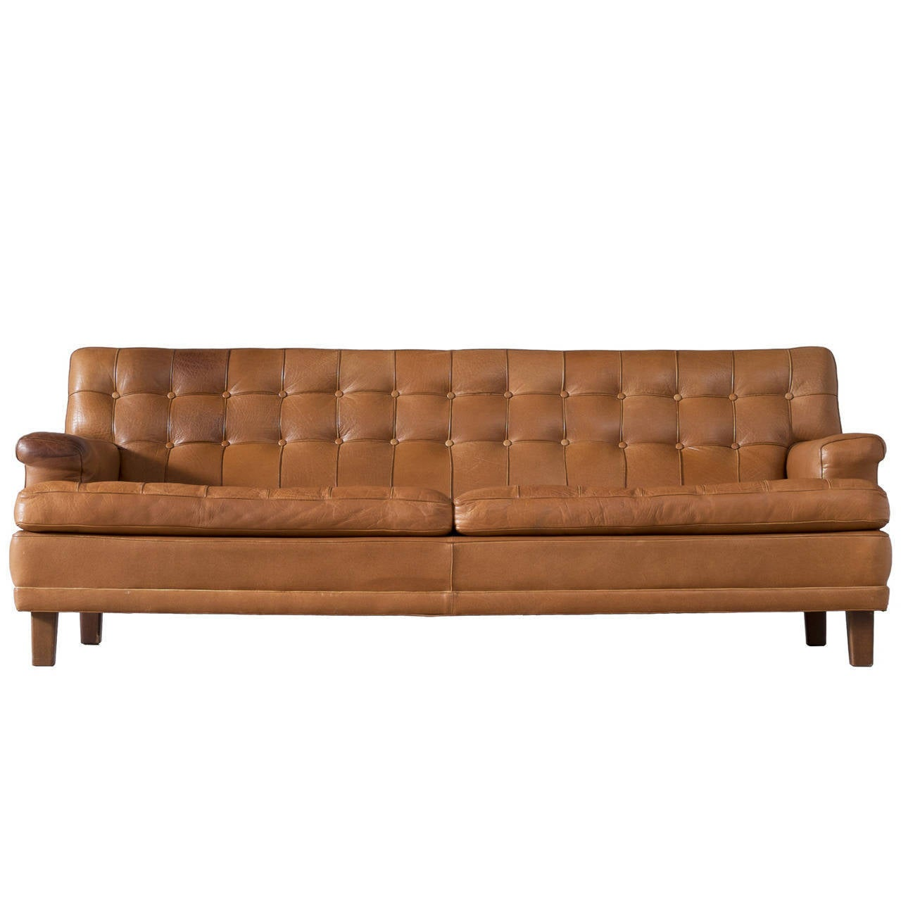 arne norell sofa in cognac leather for sale at 1stdibs. Black Bedroom Furniture Sets. Home Design Ideas