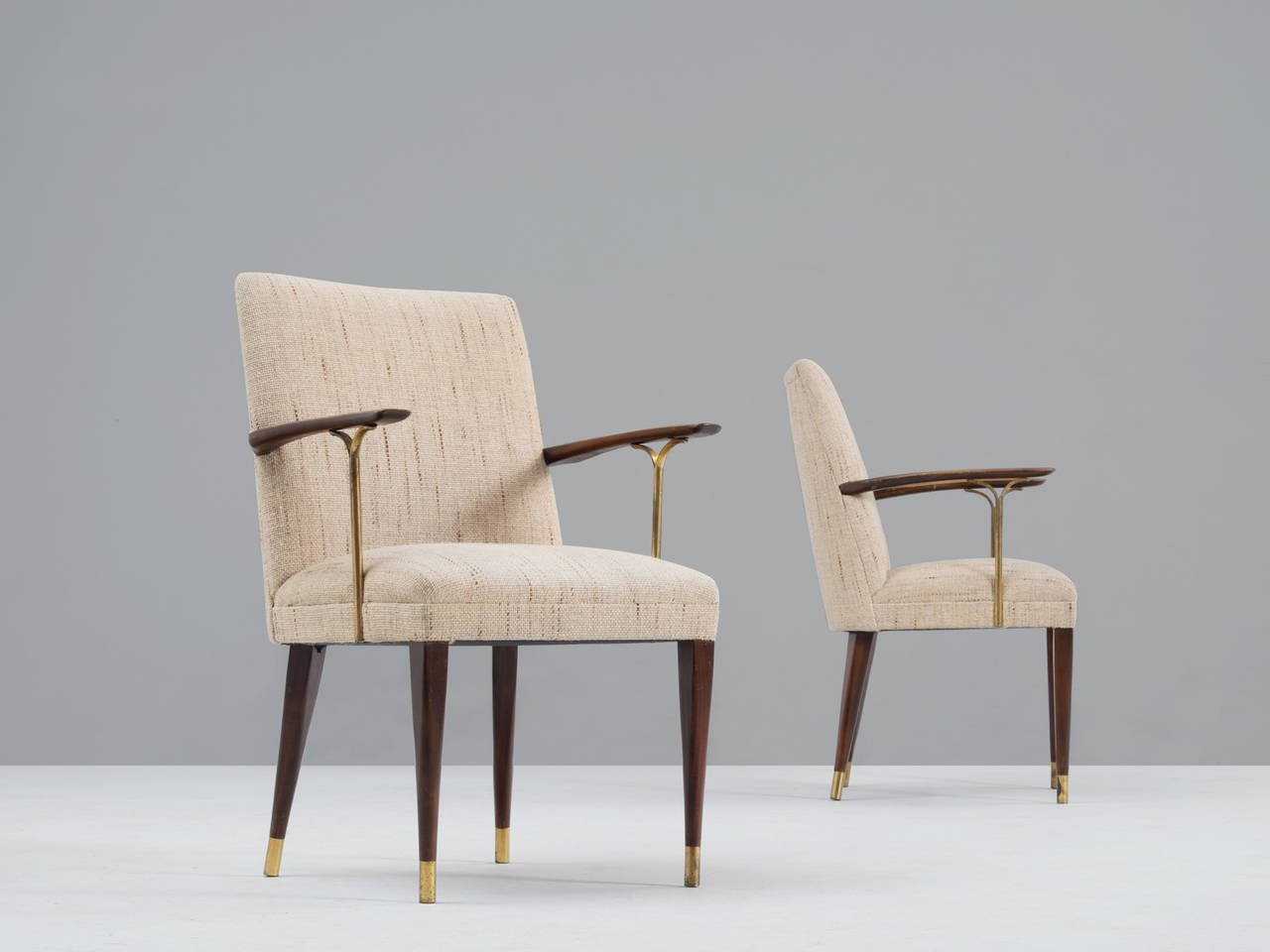 Set Of Six Dining Chairs With Wooden Armrests And Brass