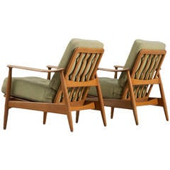 Arne Vodder Set of Two Adjustable Lounge Chairs in Oak