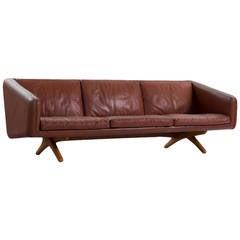 Cross Leg Sofa by Illum Wikkelsø in Original Leather