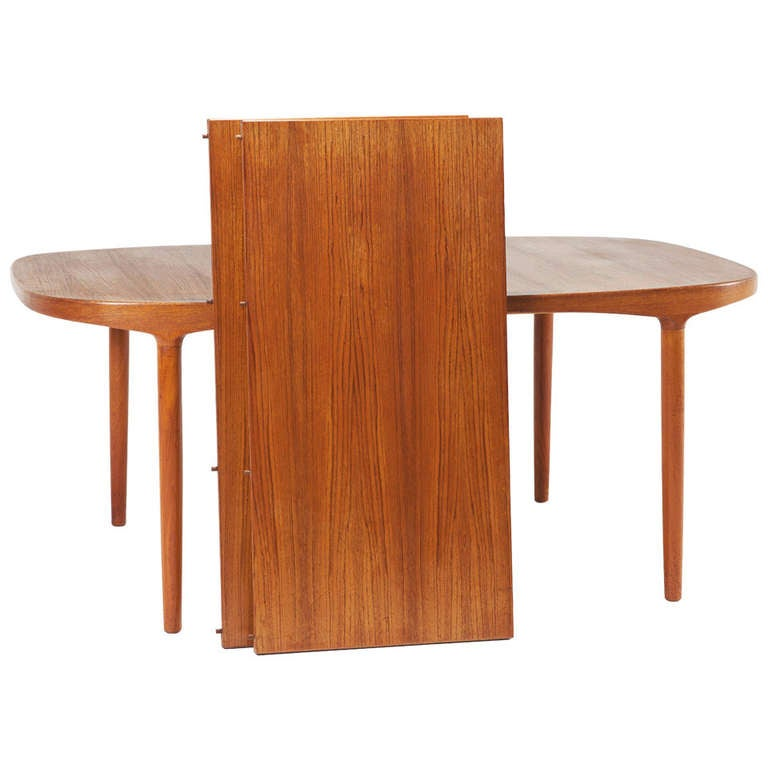 danish teak table with 2 extension leaves at 1stdibs