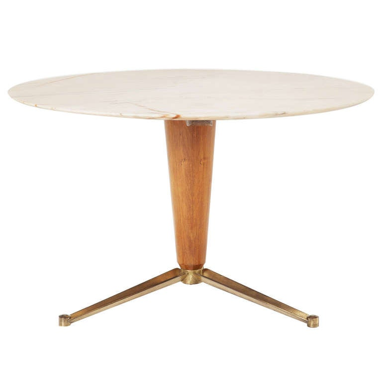 Unique Italian Pedestal Table With Brass Legs And Marble