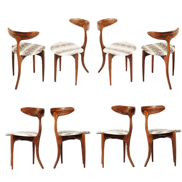 John Widdicomb Furniture For Sale ... rare set of 8 'Dolphin' chairs in Solid rosewood For Sale at 1stdibs