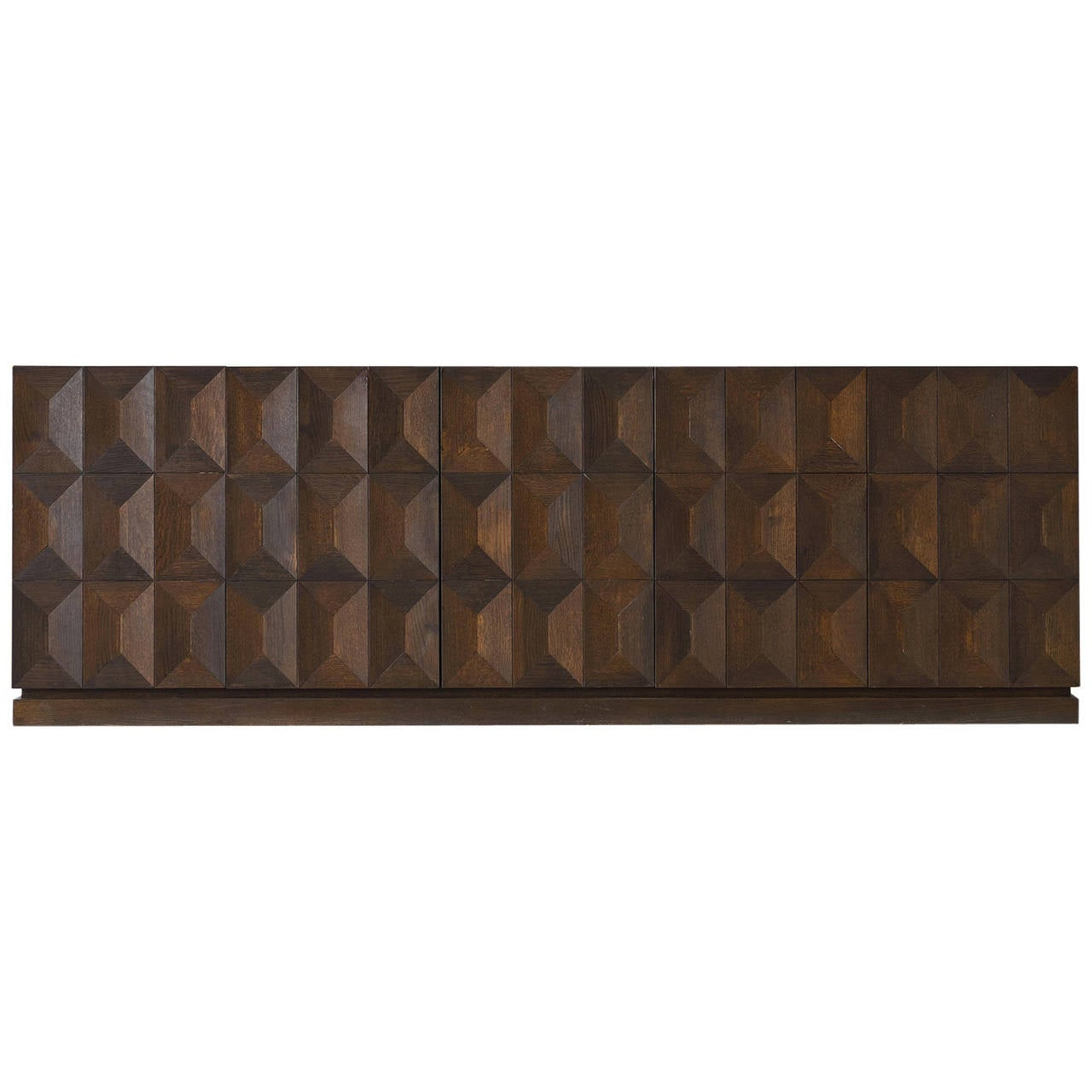 Brutalist Credenza In Stained Oak Belgium 1970s At 1stdibs