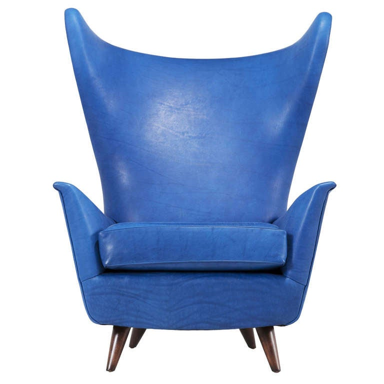 Italian midcentury wingback chair in sapphire blue leather at