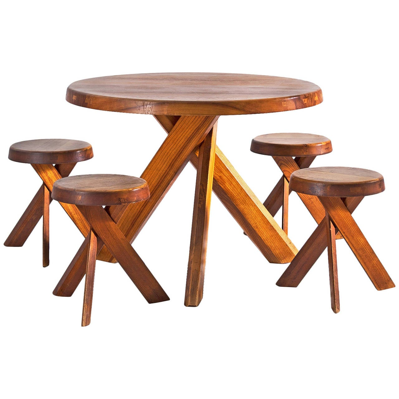 pierre chapo round table and four stools for sale at 1stdibs. Black Bedroom Furniture Sets. Home Design Ideas