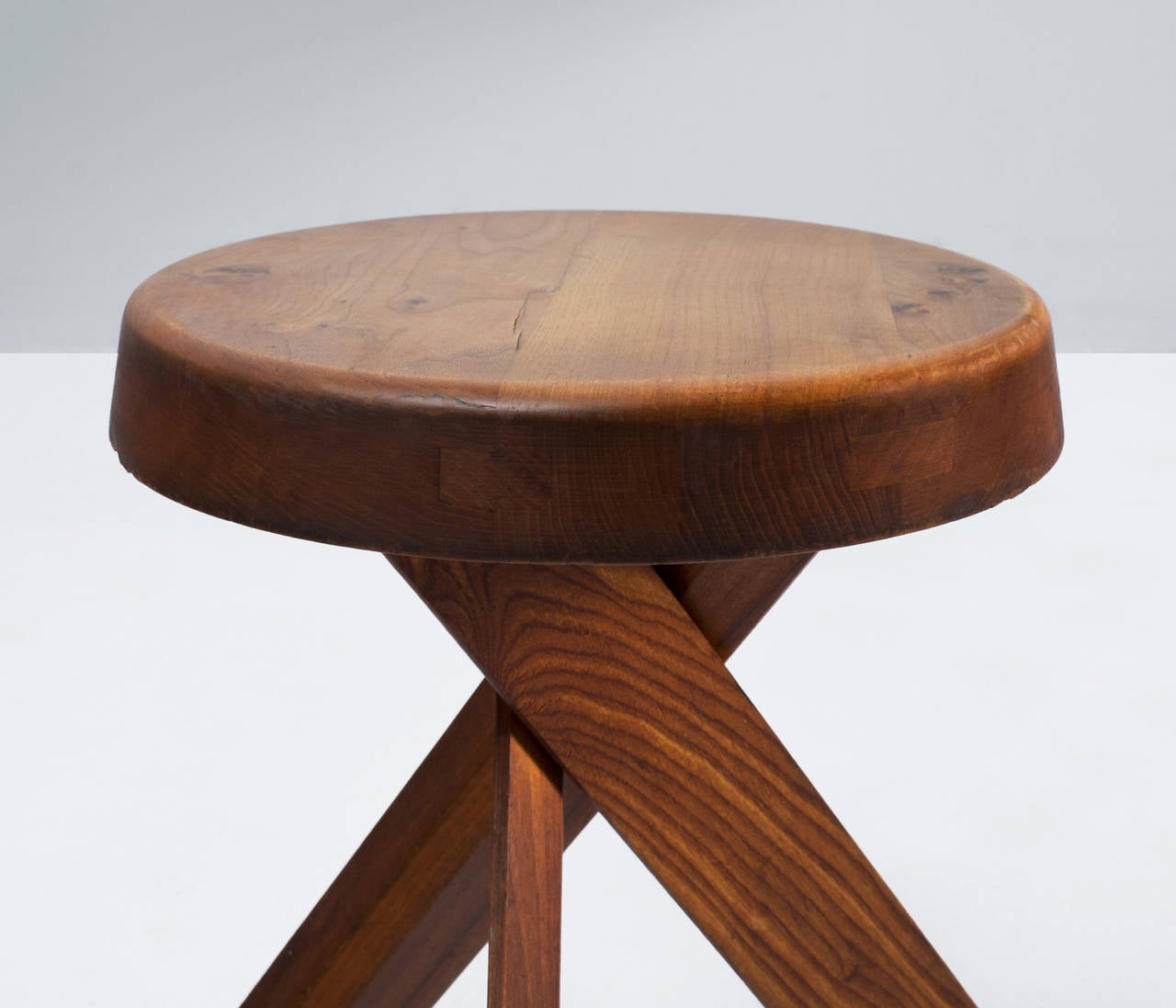 John Widdicomb Furniture For Sale Pierre Chapo Round Table and Four Stools For Sale at 1stdibs
