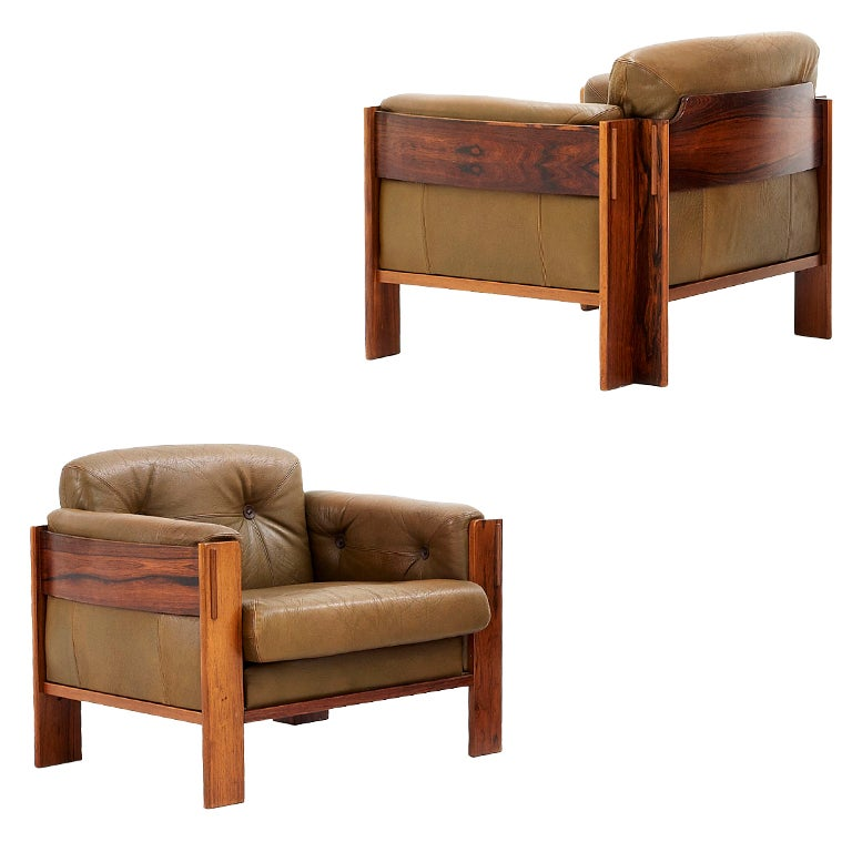Pair Of Scandinavian Lounge Chairs In Rosewood And Olive