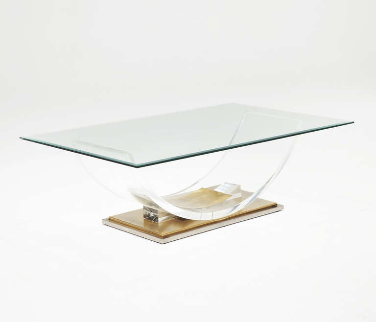 Lucite And Brass Coffee Table For Sale At 1stdibs