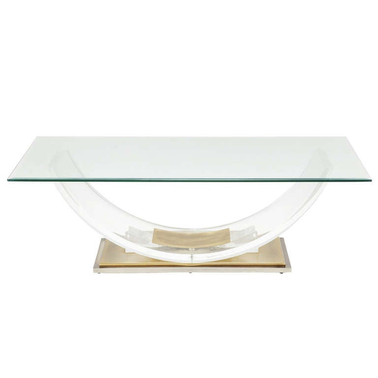 Lucite and brass coffee table for sale at 1stdibs for Lucite and brass coffee table