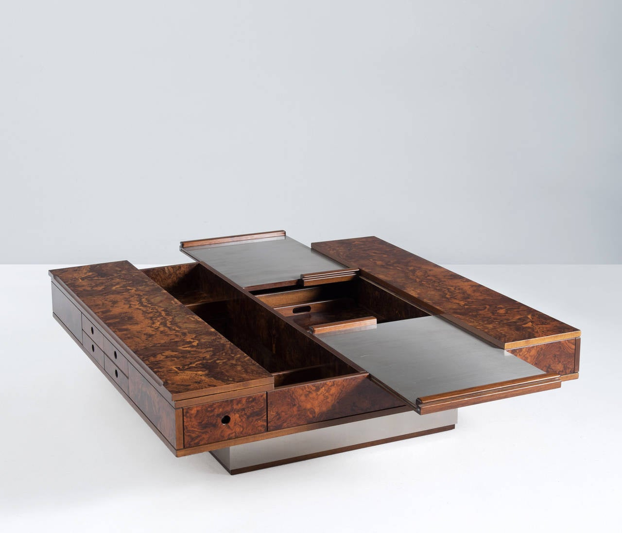 Coffee Table In Burlwood With Integrated Dry Bar At 1stdibs