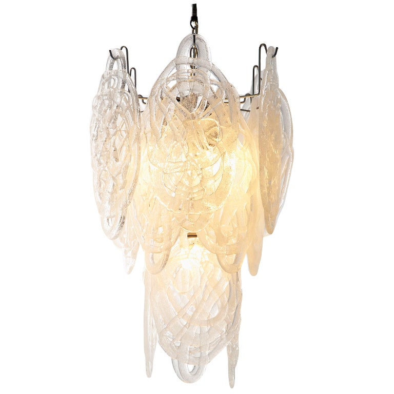 30 Quot Mazzega Chandelier With Dynamic Murano Glass Discs At