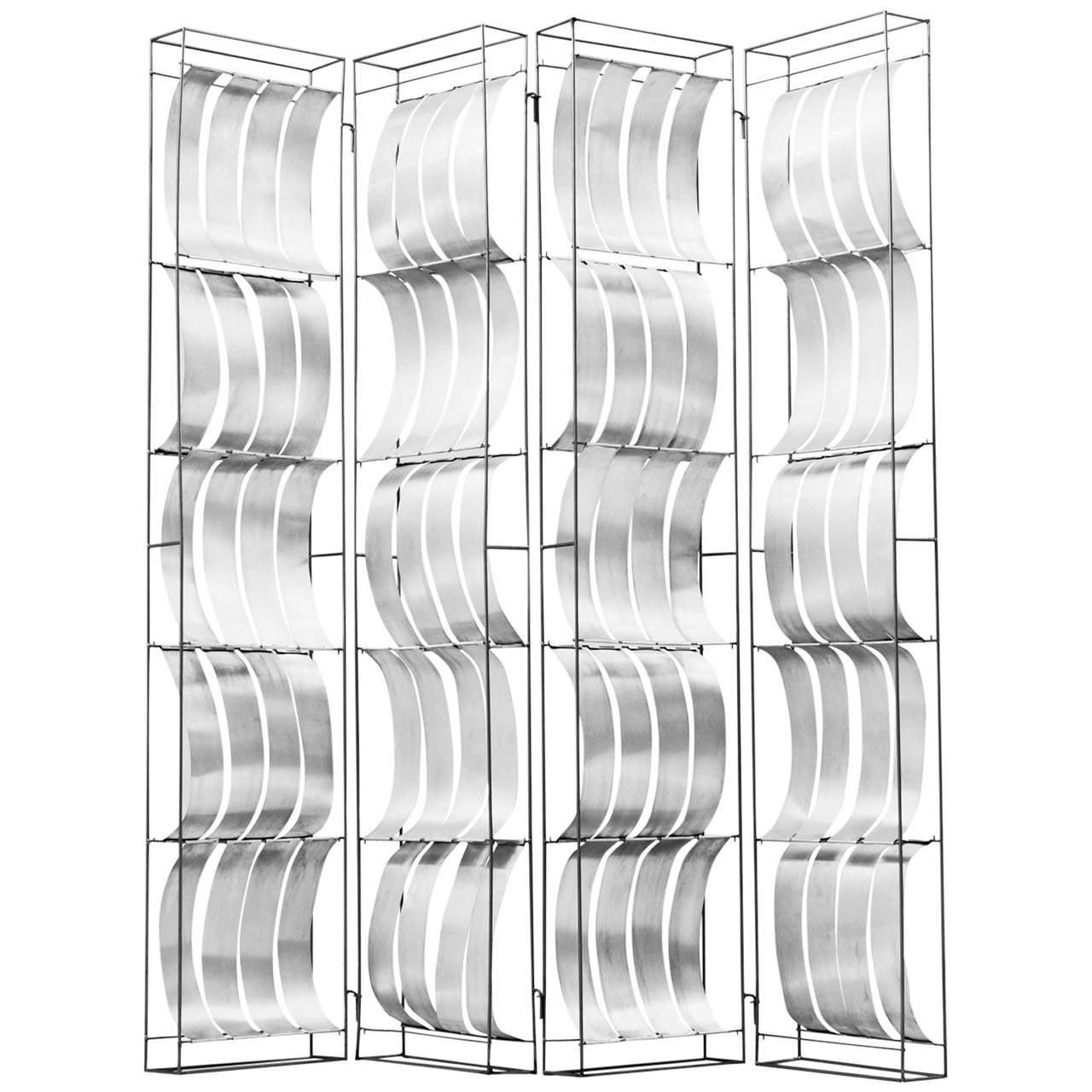 Max Sauze Foldable Aluminum Room Divider For Sale