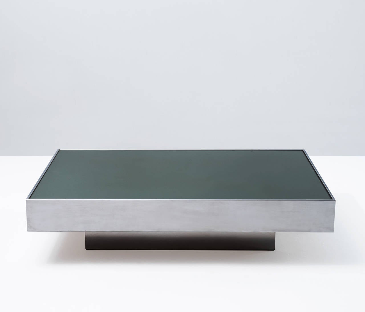 Chrome Coffee Table Green Glass Top For Sale At 1stdibs