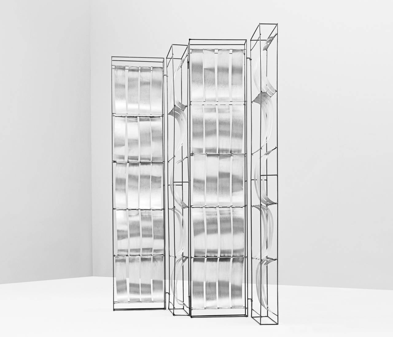Mid-Century Modern Max Sauze Foldable Aluminum Room Divider For Sale