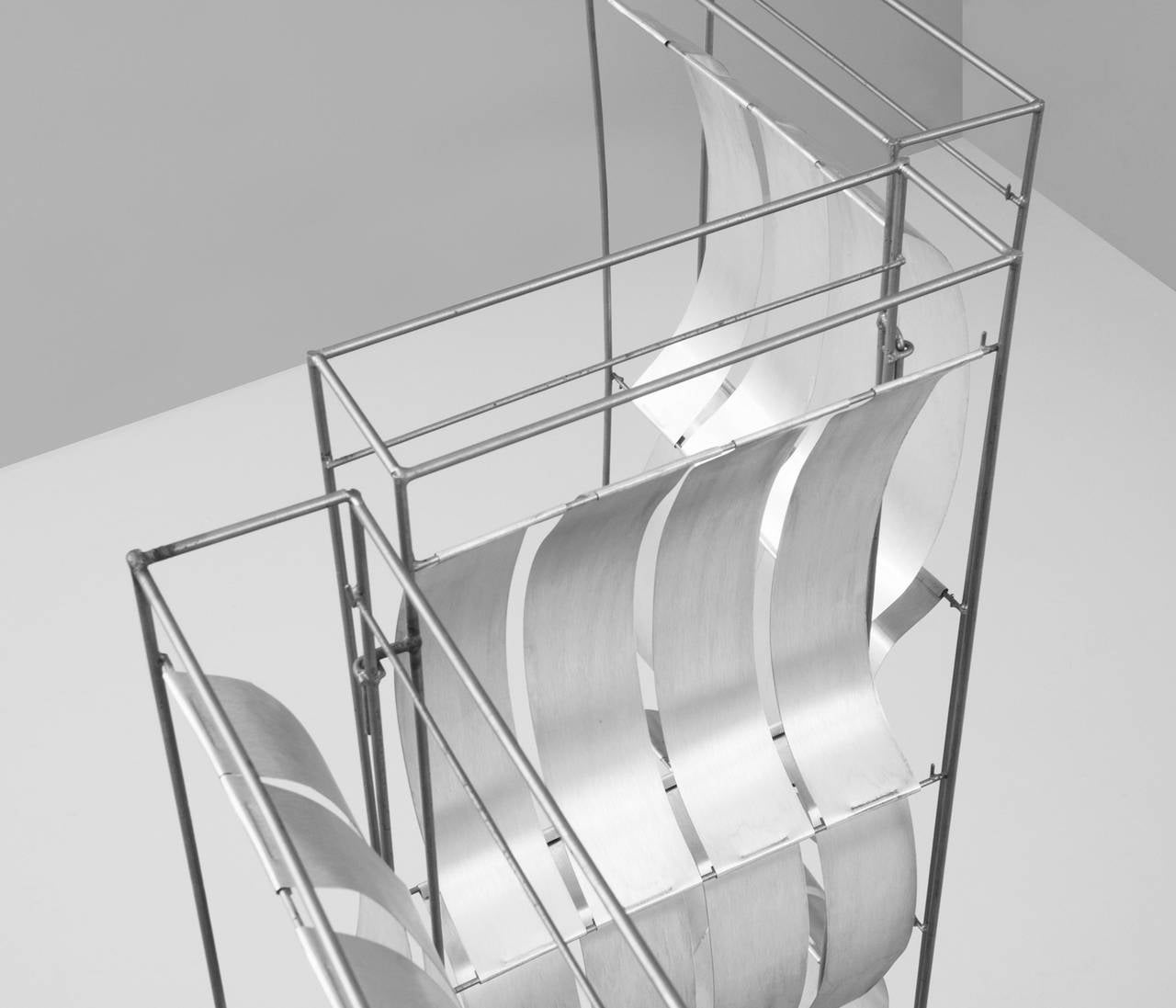 French Max Sauze Foldable Aluminum Room Divider For Sale