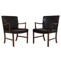 Solid Rosewood Armchairs Ole Wanscher for A. J. Iversen, Large Version